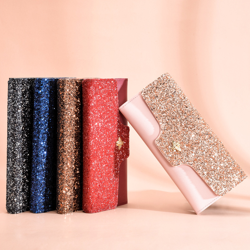 women's wallet glitter for women carteira feminina luxe shiny carteras mujer Leather genuine purse Ladies female partmon