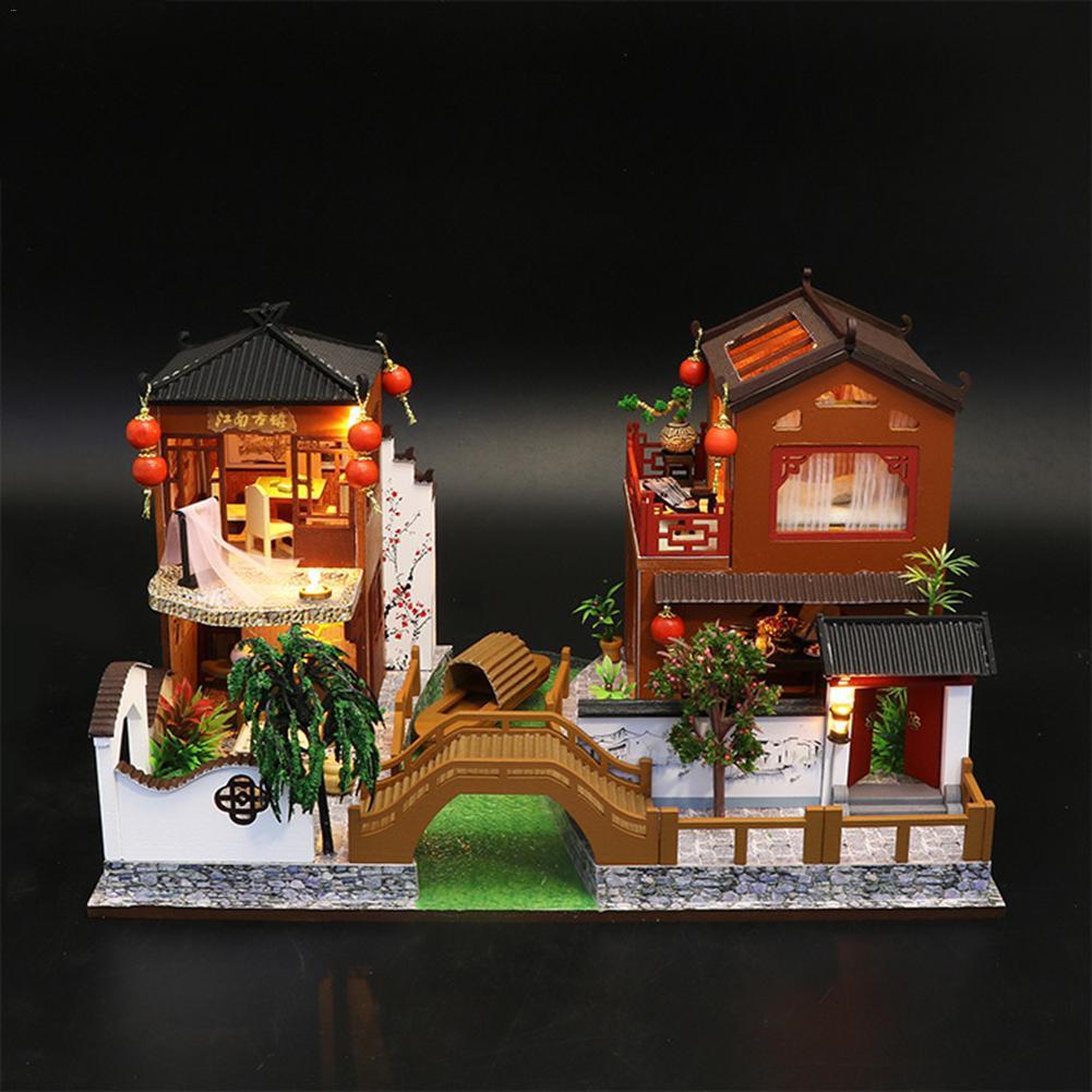 1 Pc 30*21*19cm maison de poupée jouets chinois Style traditionnel fait à la main Architectural modèle bricolage Cottage pour cadeau d'anniversaire