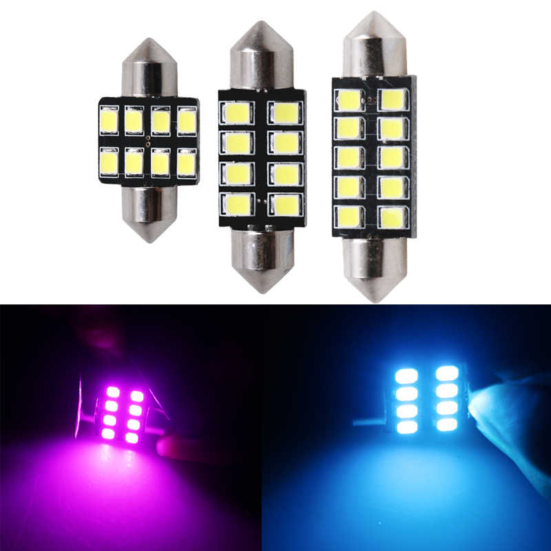 1pc LED Car Interior Lights Canbus Festoon Lamp 12V 6000K White 31mm 36mm 39mm 41mm Auto Bulbs Dome Light Reading Parking Lamps