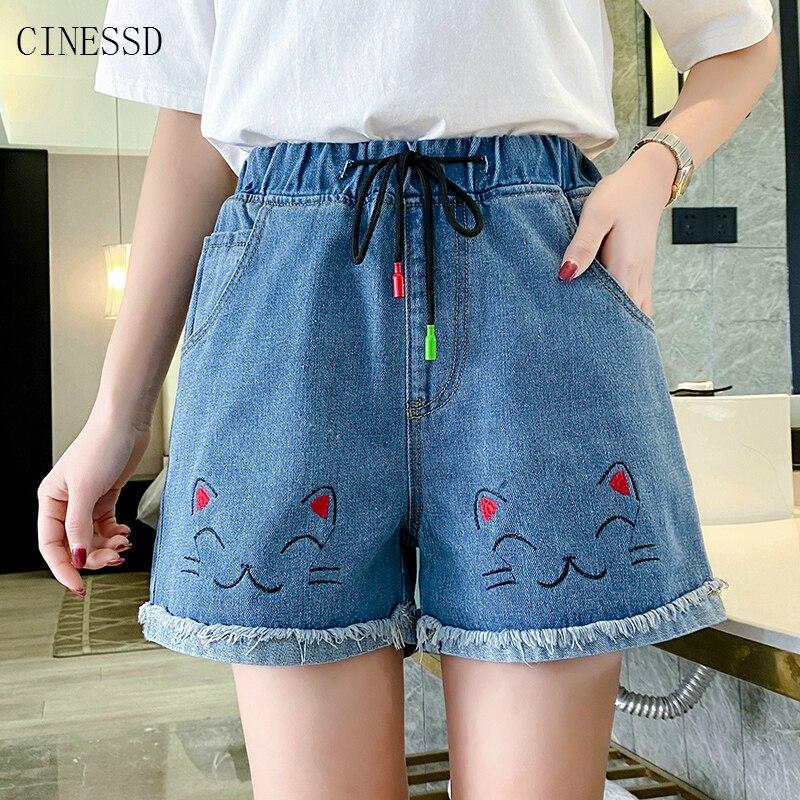 Plus Size 4XL 5XL Jean Shorts Women Summer High Waisted Cartoon Cat Kawaii Shorts Femme Korean Embroidery Denim Short 2020 New