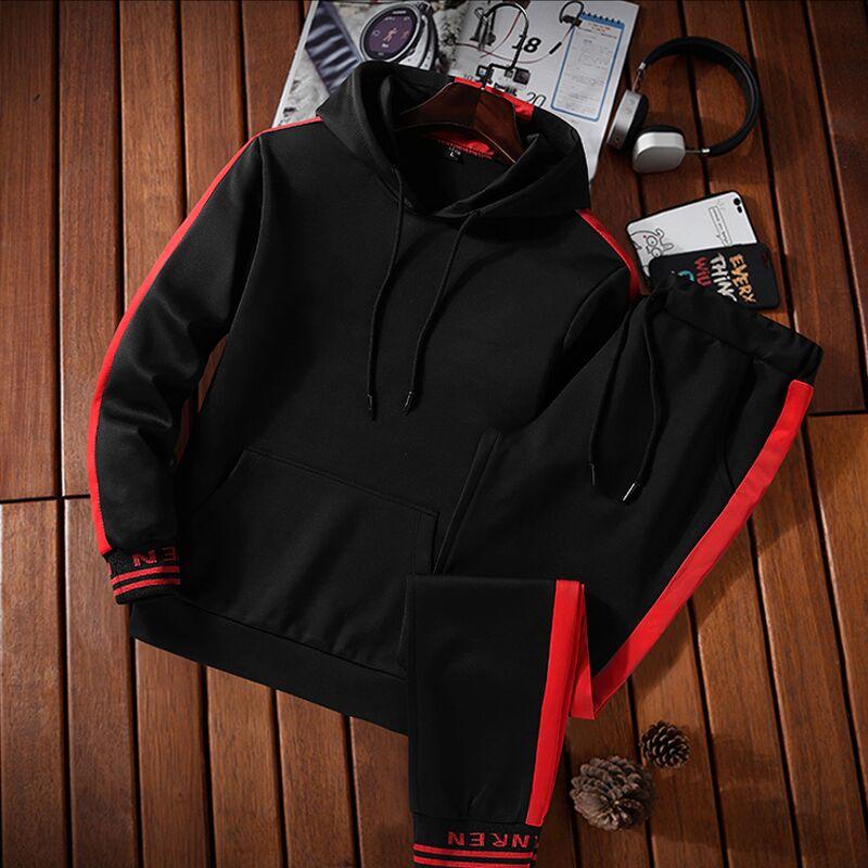 Hooded Men Sportswear Sets Spring Winter 2020 Casual Tracksuit Men Two Piece Suit Hoodies Sweatshirt + Sweatpants Male Sweatsuit