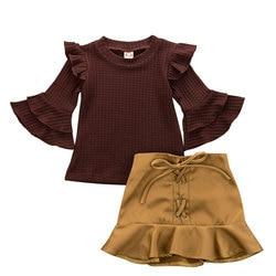 6M-4Y Peuter Baby Kid Meisjes Kleding Set Gebreide Lange Mouwen Ruches T-shirt Mini Rok Herfst Kid Meisjes Kostuums