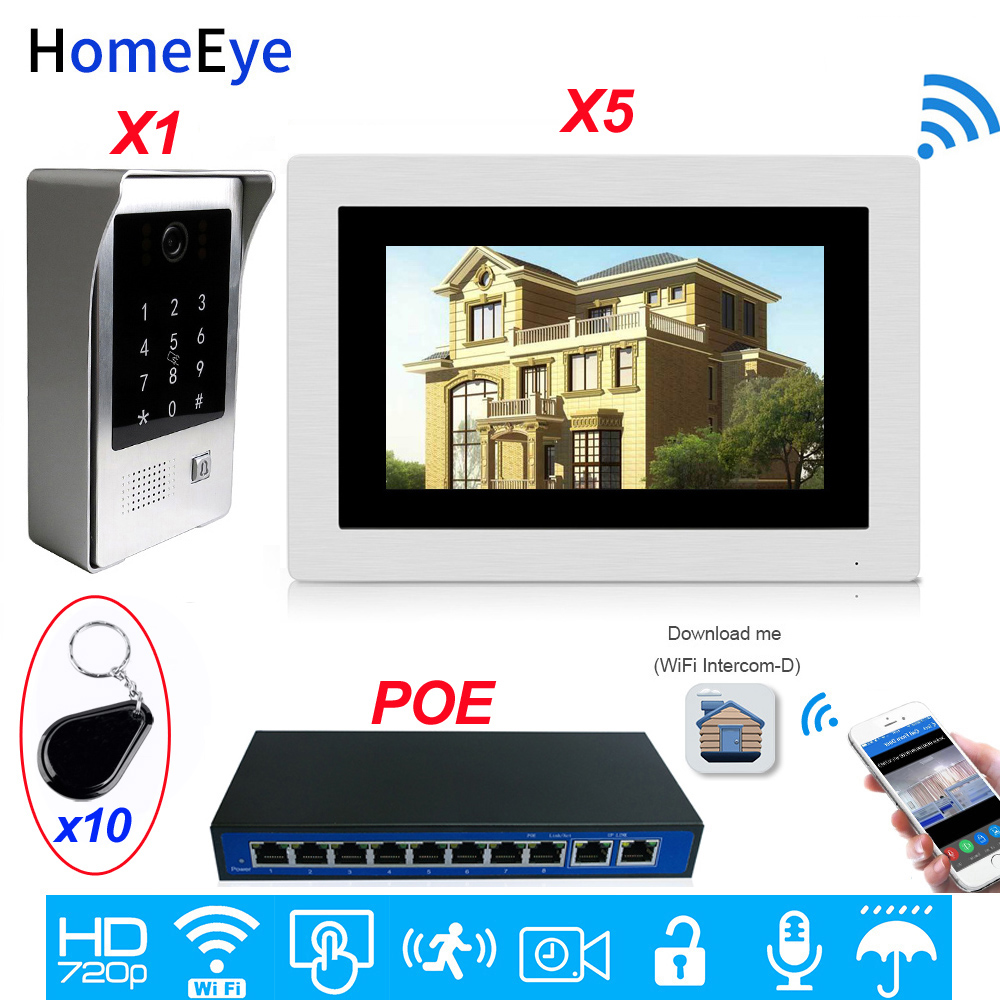WiFi Video Door Phone IP Video Intercom Mobile App Remote Unlock Multi-language OSD Code Keypad + IC Card Access Control System
