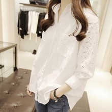 Womens Chiffon Blouse Elegant  Business Shirt Lapel Long Sleeve Lace Pure Color 7.31