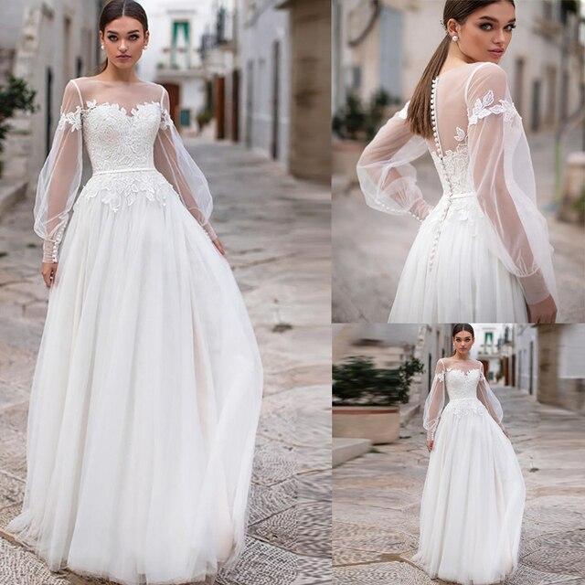 Sexy Sheer Neckline Wedding Dresses Bohemian Puff Long Sleeves Appliques Lace Wedding Gowns Buttongth Vestido De Noiva for Bride 1