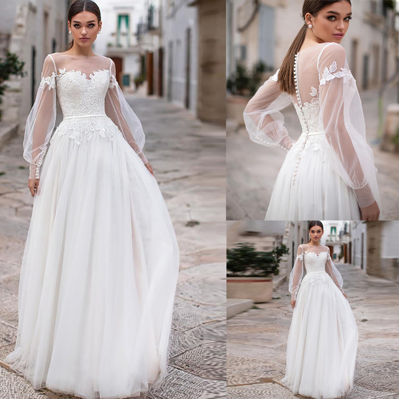 Beach Wedding Dresses 2020 Lace Appliques Puff Long Sleeves Bridal Wedding Gowns Backless Floor Length Vestido De Noiva