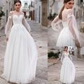 Beach Wedding Dresses 2020 Lace Appliques Puff Long Sleeves Bridal Wedding Gowns Backless Floor Length Vestido De Noiva