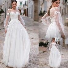 Boho Wedding Dresses 2021 Lace Appliques Puff Long Sleeves Wedding Gowns Button Backless Floor Length Vestido De Noiva for Bride