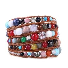 KELITCH 5 filas de cuero Wrap pulsera mezcla de grandes piedras naturales Vintage cuero tejido con cuentas pulsera Bohemia amantes regalo Bracele