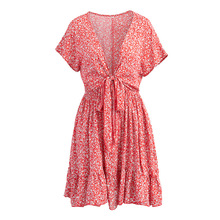 купить Women Summer Sexy V-Neck Cotton Short Sleeve Boho Dresses Floral Printed Beach Loose Mini Dress Ruffle Bow Tie Cover Up Dress онлайн