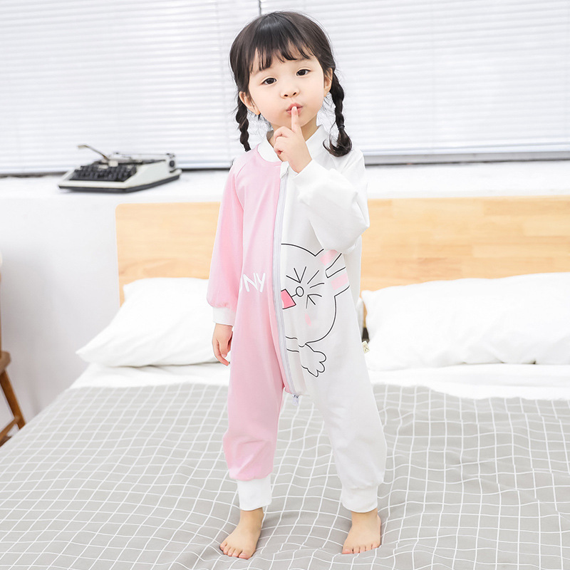 Autumn And Winter One-piece Pajama Baby Thick Plus Velvet Anti-kick Quilt Sleeping Bag Men And Women Children Cartoon Anti-Cold