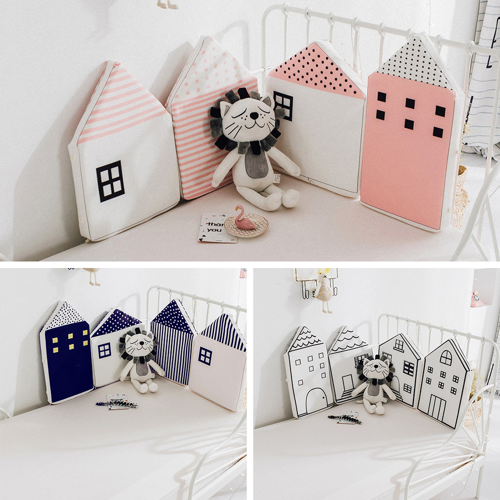 4 Pcs/Lot Little Baby Room Decor Little House Pattern Bumpers In The Crib Protection Newborns Cot Nordic Baby Room Decoration