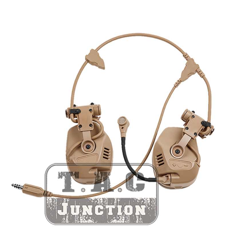 FCS RAC Tactical Rail Attached Communication Headset DE Noise Reduction For Fast Helmet Tactical High-Cut Headset
