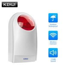 KERUI J008 لاسلكي خارجي فلاش LED ضوء إحترافي صفارات الإنذار العمل ل GSM PSTN أمن الوطن صوت لص نظام إنذار