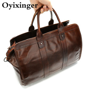 Image 5 - High Quality Classic Laptops Briefcase Genuine Natural Leather Bags Mens Travel 15.6 Inch Bag Man Business Bag For Macbook Pro
