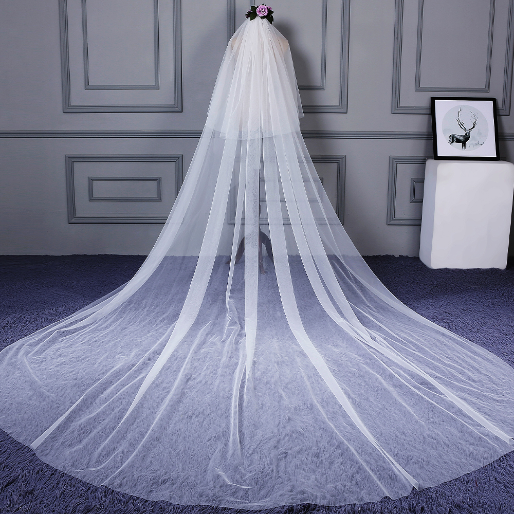 Women Ivory Simple Wedding Bridal Cathedral Veil With Comb 3m 2 Layer Elegant Long Train Veil Cut Edge Lady Accessory For Bride