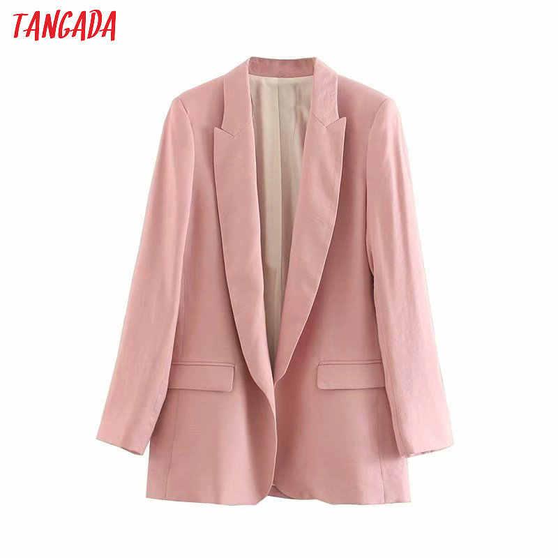 Tangada Mode Solide Business Blazer Voor Vrouwelijke Volledige Mouw Zakken Gekerfd Kraag Blazer Elegante Dames Werken Top 4M37