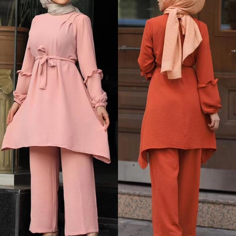 2 Pieces Dubai Muslim sets islamic ribbon tops + pant suits female kaftan Turkish Hijab Muslim islamic dress ramadan ropa F1790