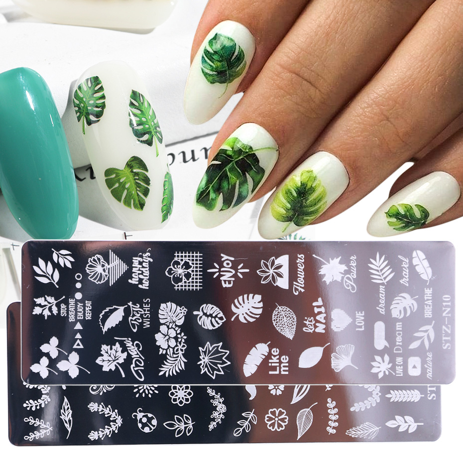 1pcs 12x4cm Nail Stamping Plates Leaf Flowers Butterfly Cat Nail Art Stamp Templates Stencils Design Polish Manicure TRSTZN01-12(China)