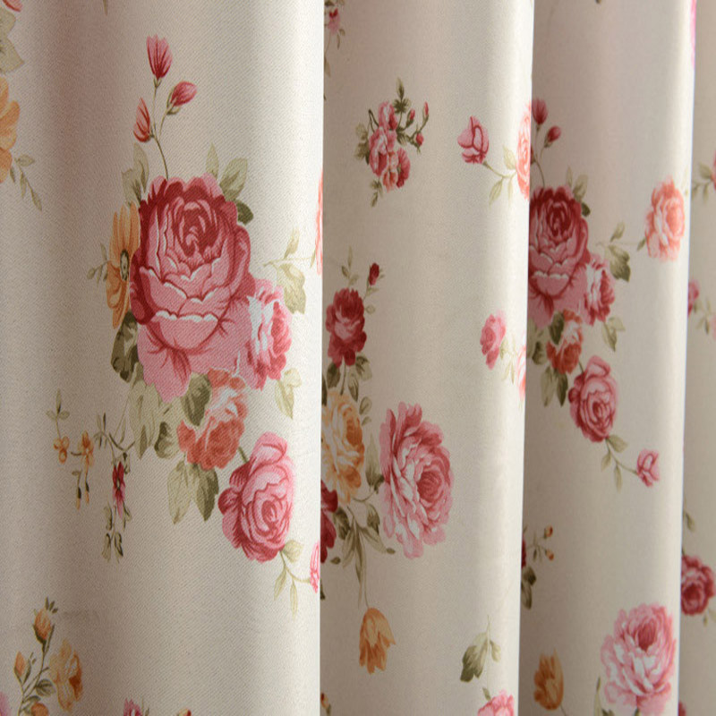 American Rural Style Red Flowers Curtains Polyester Fabric For Living Room Curtains For Bedroom Window Treatments Panel P138&30