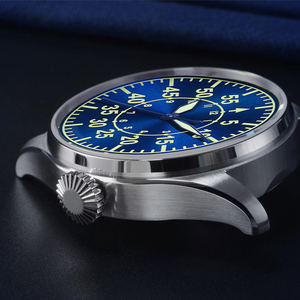Image 4 - Cronos Mechanical Pilot Flieger Men Watch Stainless steel Skeleton Back Waterproof Blue Hands Super Luminous Mesh Band