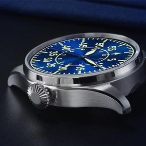 Image 4 - Cronos機械式パイロットfliegerメンズ腕時計ステンレス鋼スケルトンバック防水ブルー手スーパー発光メッシュバンド