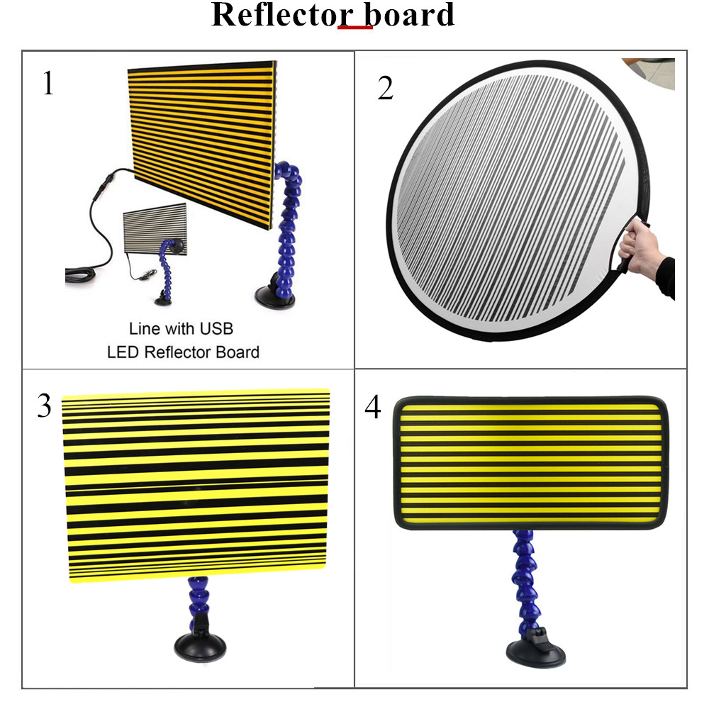 4 Kinds Of PDR Strip Line Board Reflective Board For Dent Detection Hail Damage Repair With Ajustment Holder Auto Repair Tool