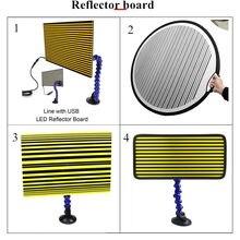 Tabla reflectante de 4 tipos de tiras para detección de abolladuras, reparación de daños por granizo con soporte de ajuste, herramienta de reparación de automóviles