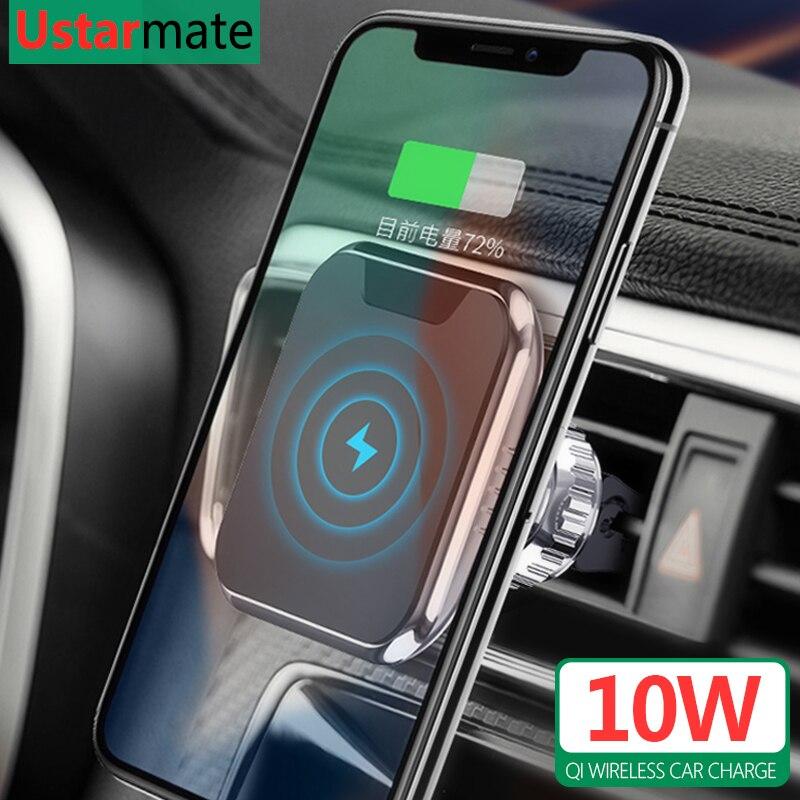 צ 'י אלחוטי מטען מגנטי רכב מחזיק עבור iPhone X Xs 8 מקסימום 10W אלחוטי מהיר טעינה עבור סמסונג S8 s9 S10 הערה 8 9 10 בתוספת