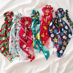 Natal impressão scrunchies longo fita de cabelo bandana para mulheres rabo de cavalo cachecol doce elástico faixas de cabelo acessórios para o cabelo