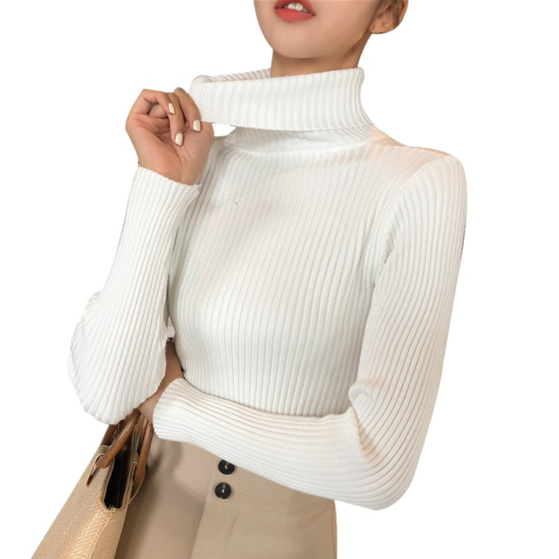 Wholesale Autumn Fall Women Sweater Slim Soft Long Sleeve High Neck Knit Pullover Sexy Slim Stretch Turtleneck Black Sweaters 3