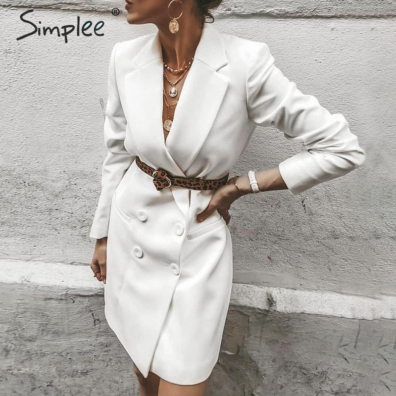 Simplee Elegant Blazer Dress Plus Size Lapel Solid Female Office Dress Autumn Soft Straight Work Wear Winter Lady Dress Blazers