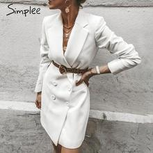 Simplee Elegant blazer dress Plus size lapel solid female office dress