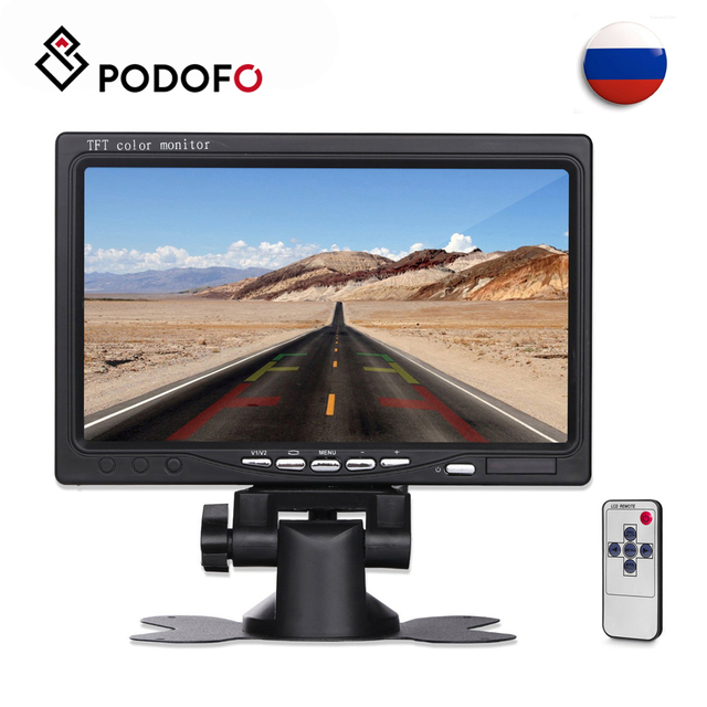 """Podofo 7"""" TFT Color LCD Headrest Car Parking Rear View Reverse Monitor With 2 Video Input 2 AV In For DVD VCD Reversing Camera"""