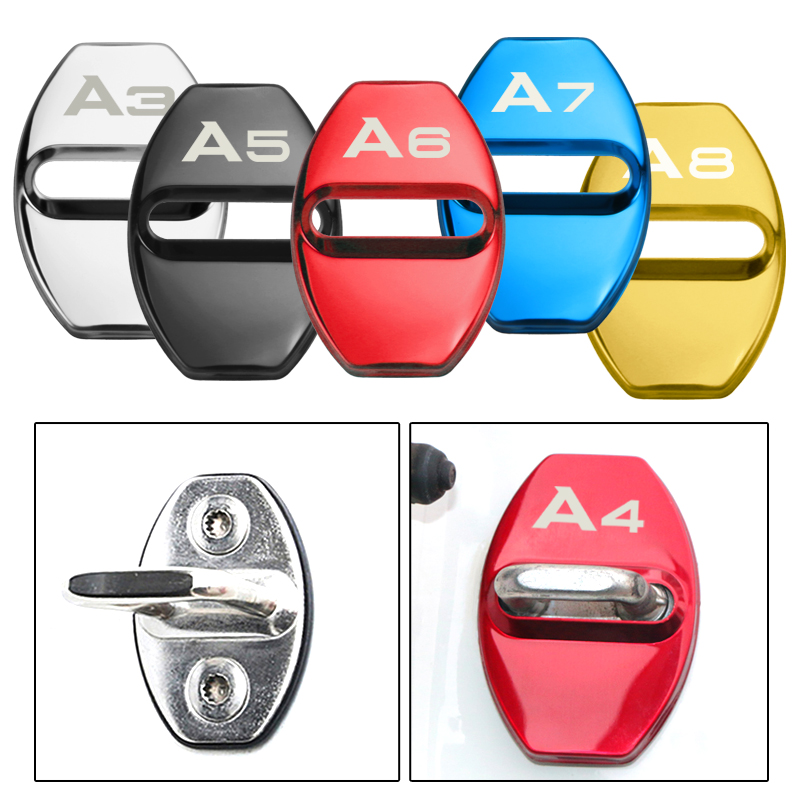 4PCS Car Door Lock Protective Cover Case For Audi A1 A3 A4 A5 A6 A7 A8 Q3 Q5 Q7 S8 TT Auto Accessories