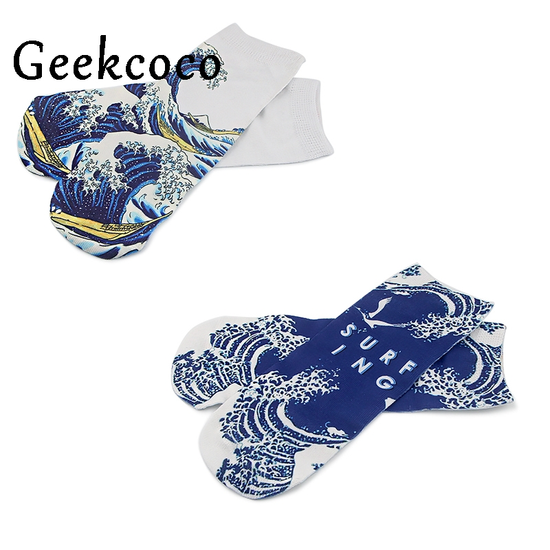 J1127 Cartoon The Great Wave Off Kanagawa Couple Cotton Short Socks Cute Unisex Skatebord Socks Fashion One Side Print Socks