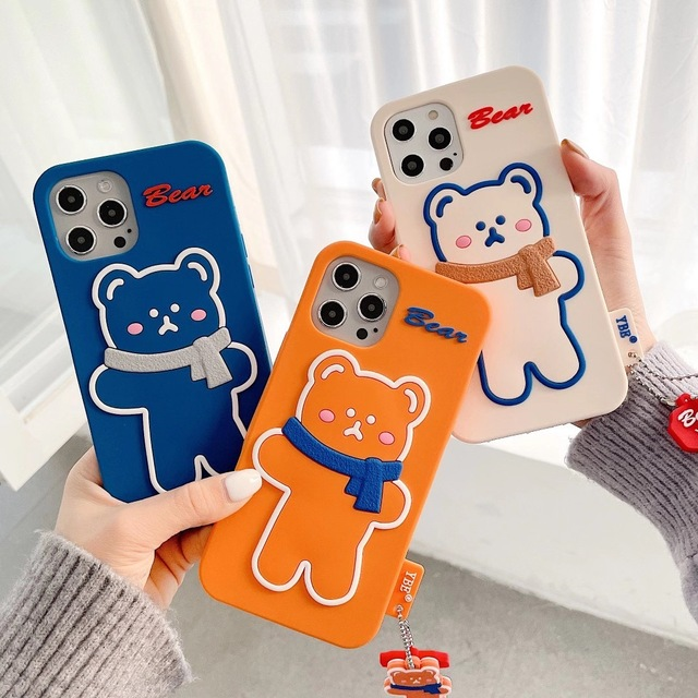Silicone Soft Brunch Bear With Scarf Phone Case For iphone6/6S 78 Plus X/XS MAX 11/12Pro/SE Buy One Get Correspondent Ring Free
