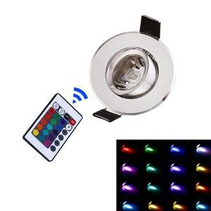 LED Downlight RGB Recessed Lamp Round 3W Remote Control Lighting AC 110V 220V Spot Light Bar Living Room