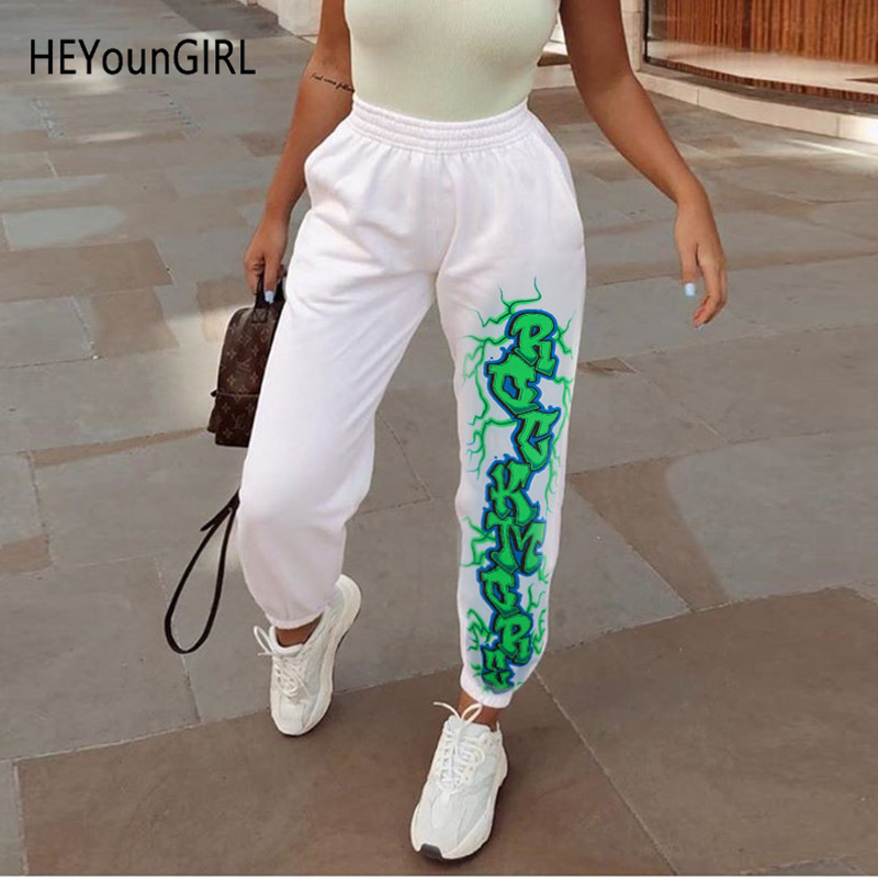 HEYounGIRL White Casual Print Sweatpants Women Fashion Autumn Warm Ladies Trousers Elastic High Waist Harem Pants Capis Pockets