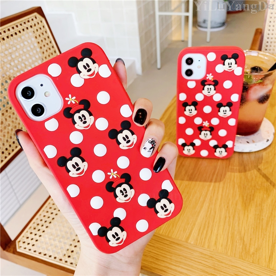 For <font><b>iPhone</b></font> 6 <font><b>6s</b></font> 7 8 Plus X XR XS 11 Pro Max Cute Cartoon <font><b>Mickey</b></font> Minnie Phone Case Soft Silicone Rubber Cover Fundas <font><b>Coque</b></font> Casing image