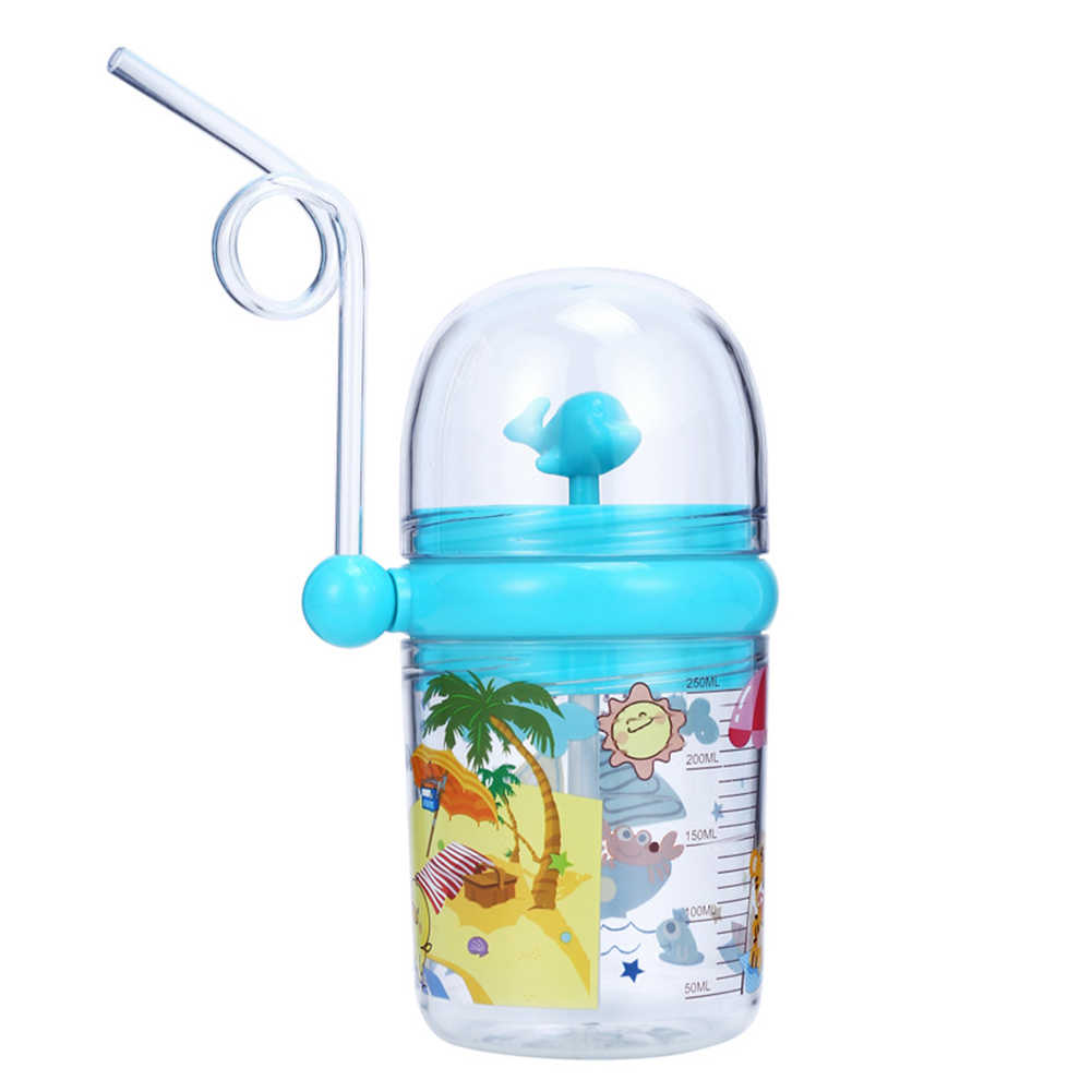250 Ml Kinderen Waternevel Cup Cartoon Walvis Baby Voeden Bekers Met Stro Waterfles Outdoor Mokken Water Flessen