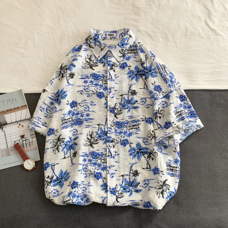OSCN7 Casual Streetwear Beach Printed Short Sleeve Shirt Men 2020 Hawaii Oversize Fashion Harujuku Women Shirts C120