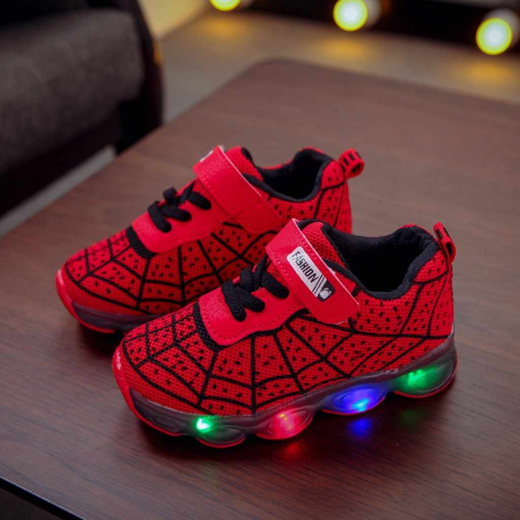 New Spring Spiderman Children Shoes With Light Kids Led Shoes Luminous Glowing Sneakers Baby Toddler Girls Antiskid Shoes #C