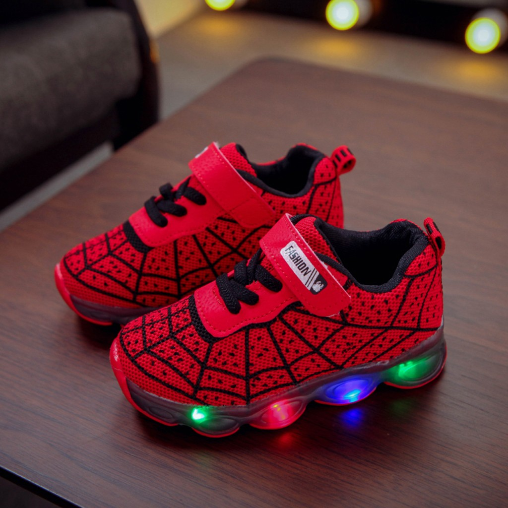 Spiderman Light LED Kids Shoes Luminous Sneakers Trainer Boy Girl Baby White NEW