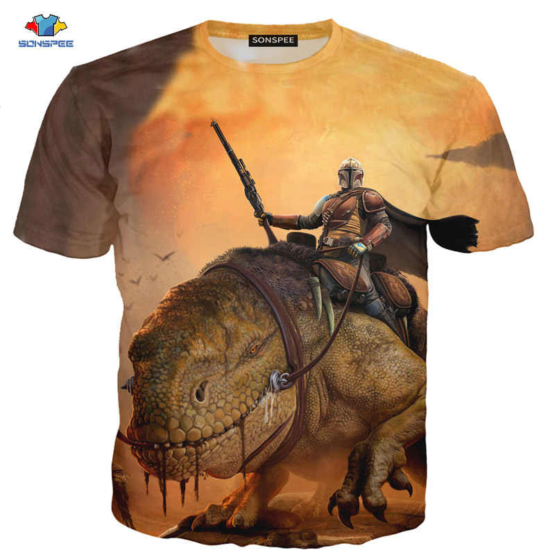 SONSPEE Summer Short-Sleeved Men's T-Shirt Popular TV Series The Mandalorian T-Shirt Sci-fi Dinosaur Animal T-Shirt Shootout Top