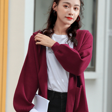 LHZSYY 2019Autumn Winter New Women Knit Cardigan Coat Fashion Loose Side Slit coat Soft Wild Bottoming shirt Female Outside Take недорого