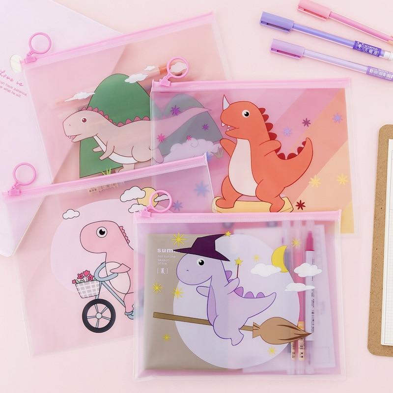 Magic Kawaii Dinosaur Transparency Zipper Transparent PVC A5  Folder Document Filing Bag Stationery Bag