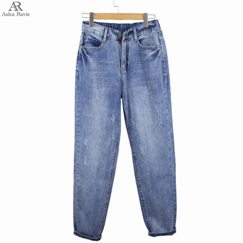 Harem jeans for woman high waist Casual Retro blue plus size blue Ankle Length denim Trousers for women 5XL