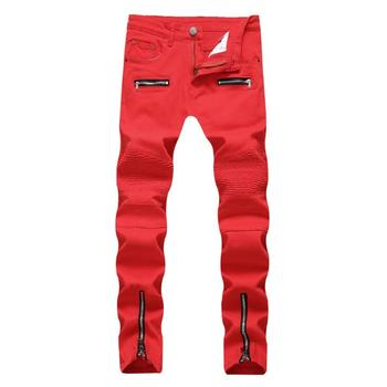 2020 new fashion men's trousers European and American men's locomotive zipper casual jeans