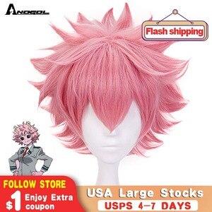 Image 1 - Anogol My Hero Academy Boku no Hero Academia Mina Ashido Short Natural Wave Pink Synthetic Cosplay Wig For Halloween Party